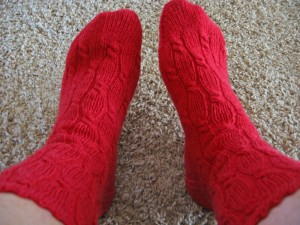 Knitted Cable Rib Socks