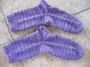 Plain Vanilla Socks knitted in Serenity Sock Yarn