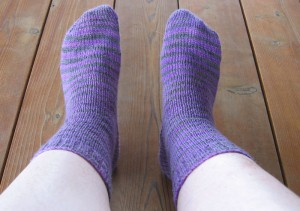 Socks in Serenity Sock Yarn (on my feet)