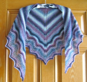 Multnomah Shawl knitted in Zauberball Crazy