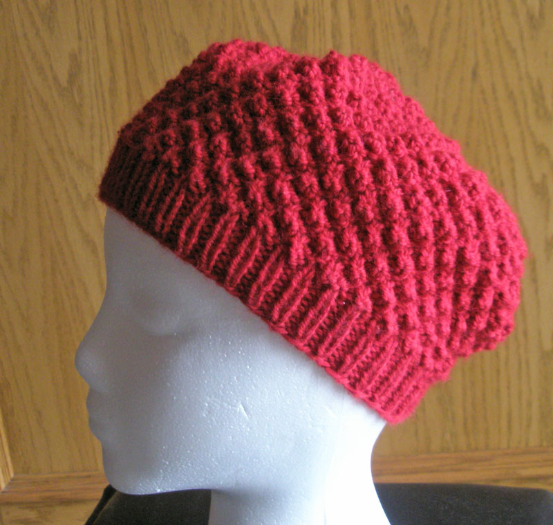 Trinity Stitch Knit Hat Pattern : Trinity Stitch Slouchy Hat
